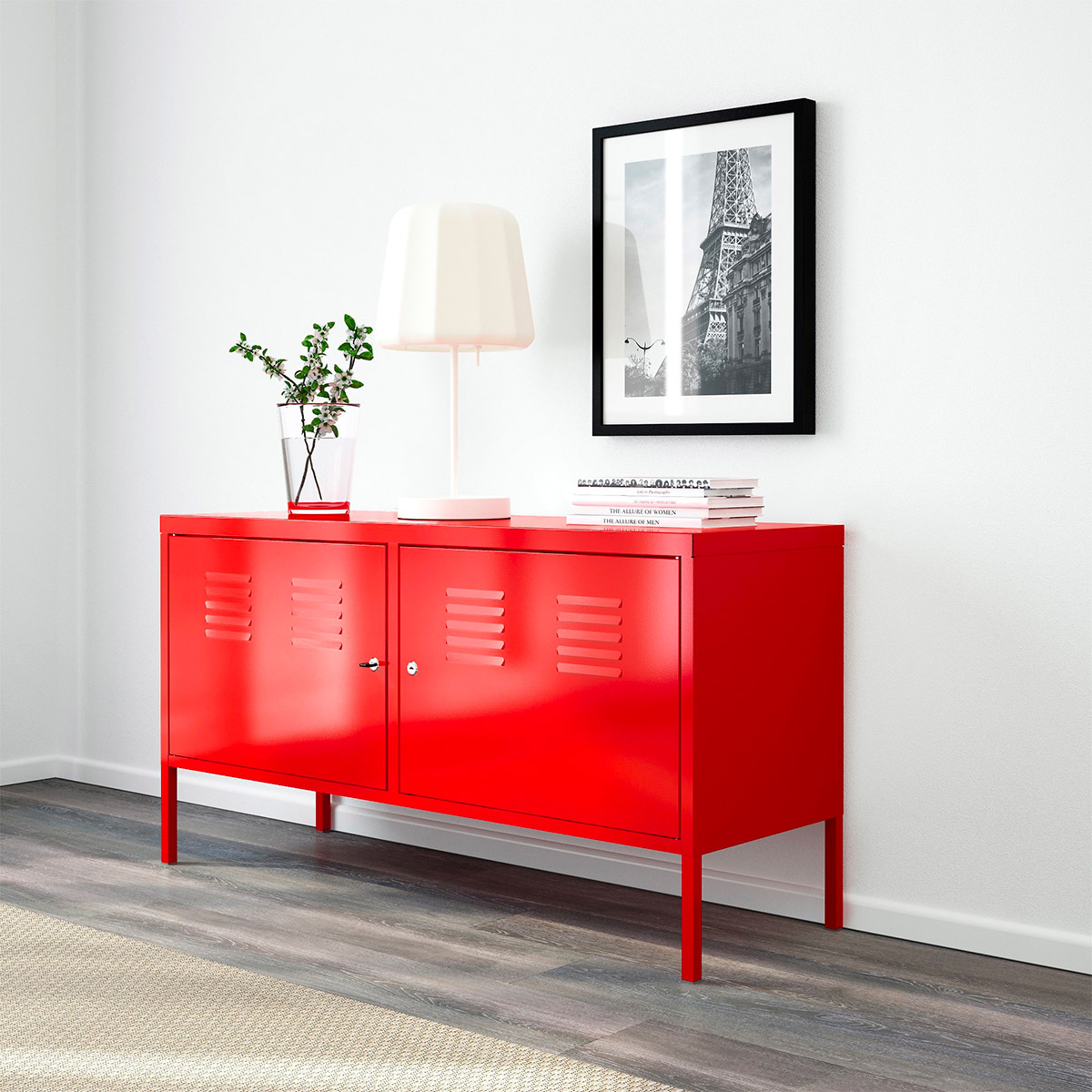 red-entryway-table-ikea-locker-with-keys