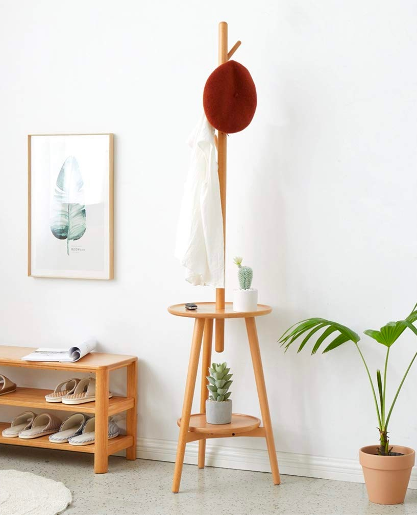 round-entryway-table-and-coat-rack-combination