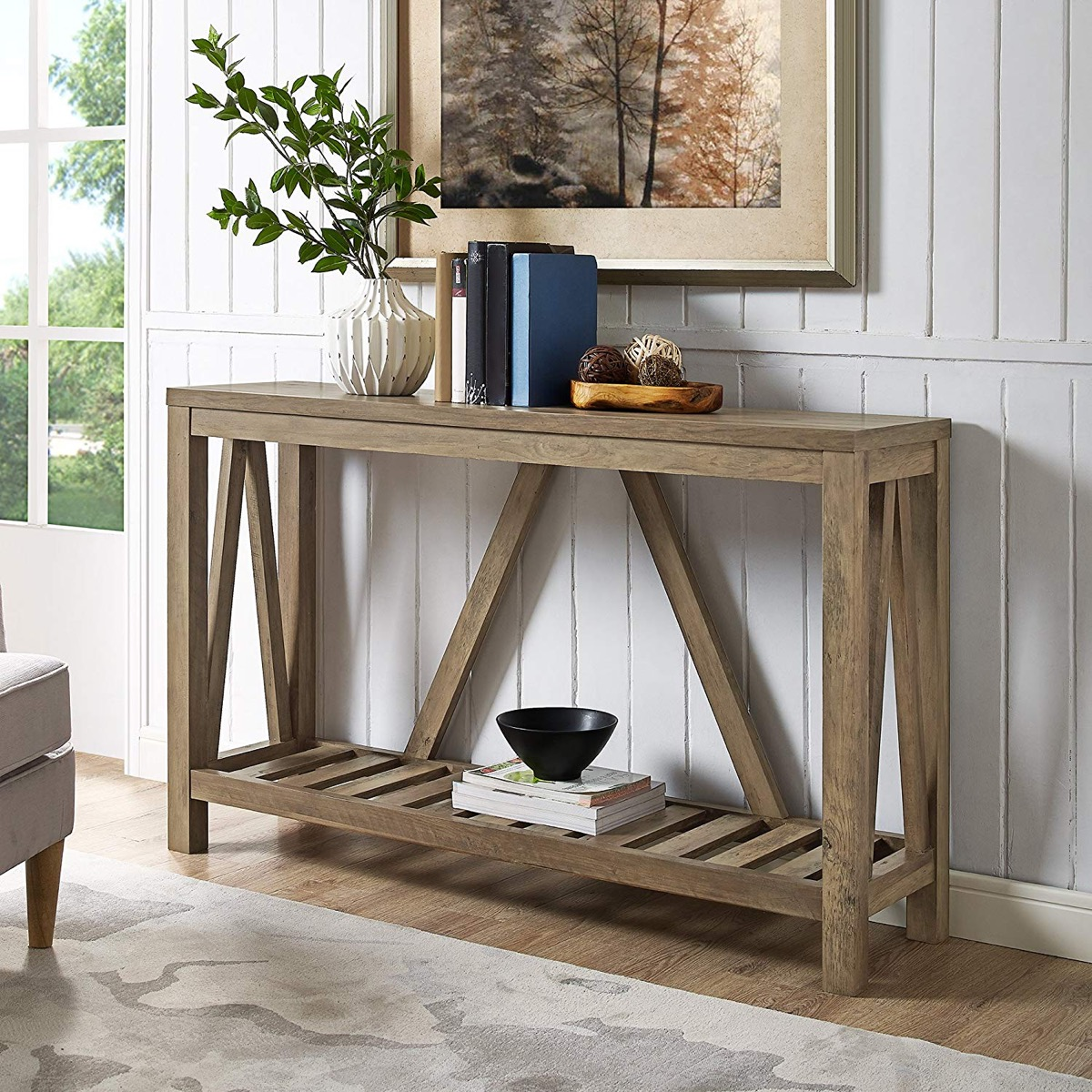 rustic-entryway-table-with-trestle-base-and-palette-style-lower-shelf