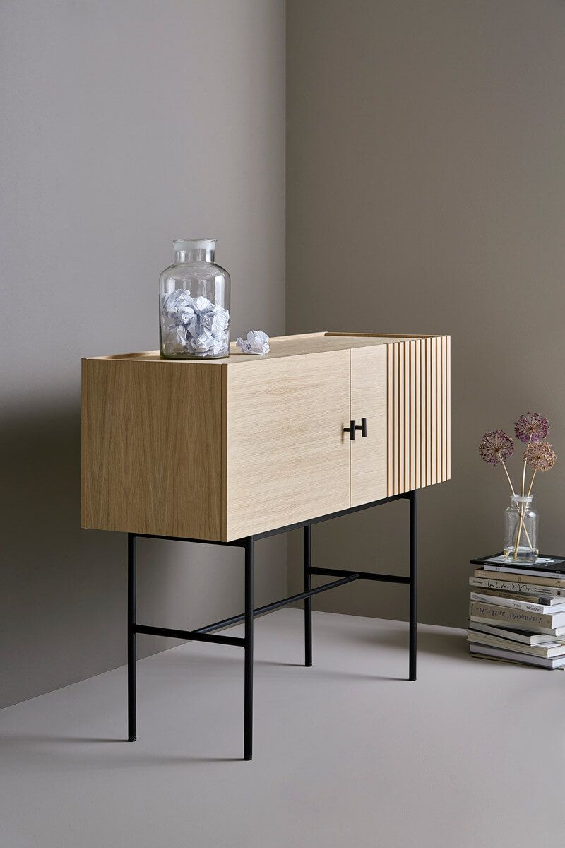 scandinavian-entryway-table-with-cabinets-light-wood-with-black-stand