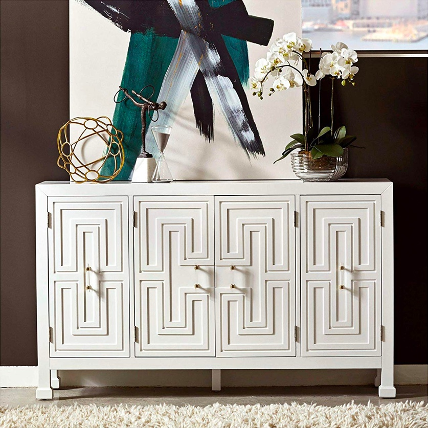slim-entryway-table-with-cabinets-white-geometric-doors-with-acrylic-handles