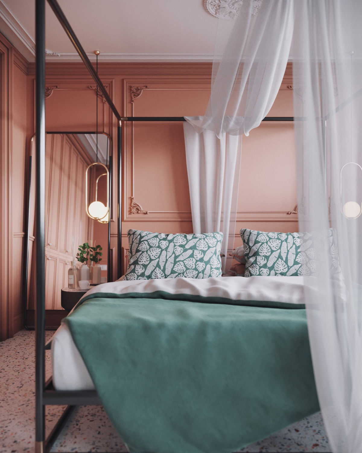 teal-and-pink-bedroom
