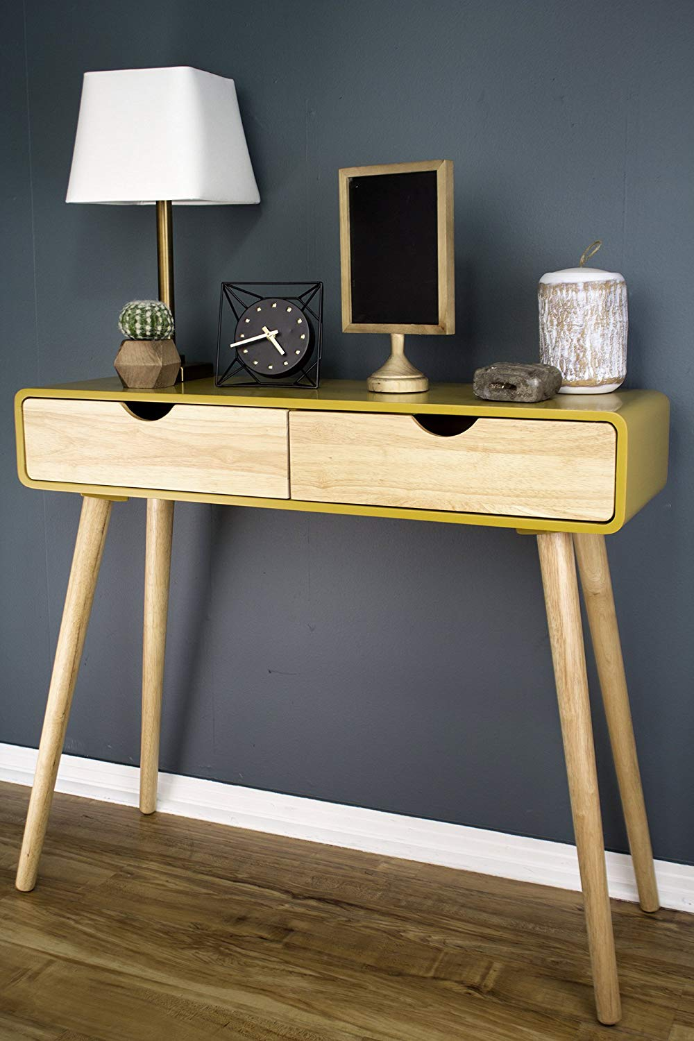 yellow-entryway-accent-table-with-drawers-mid-century-modern-style