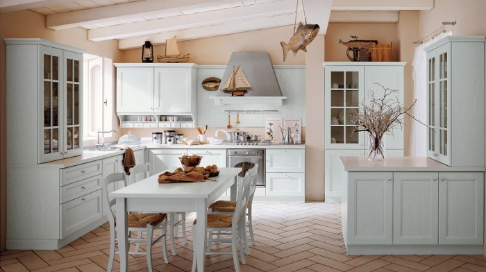 The Overview and Examples of Norwegian Interior Design. Neat pinky shaded walls and whiet furniture for large kitchen with dining zone