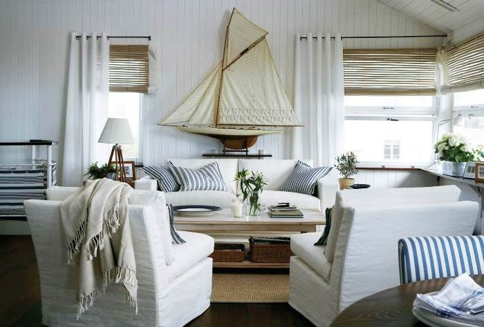 The Overview and Examples of Norwegian Interior Design. A bit of Marine touch in the white interior
