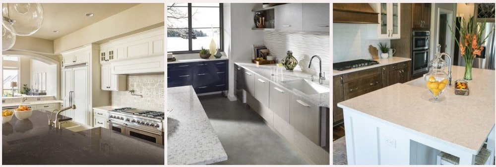 Sample of Corian Quartz countertops for the kitchen.