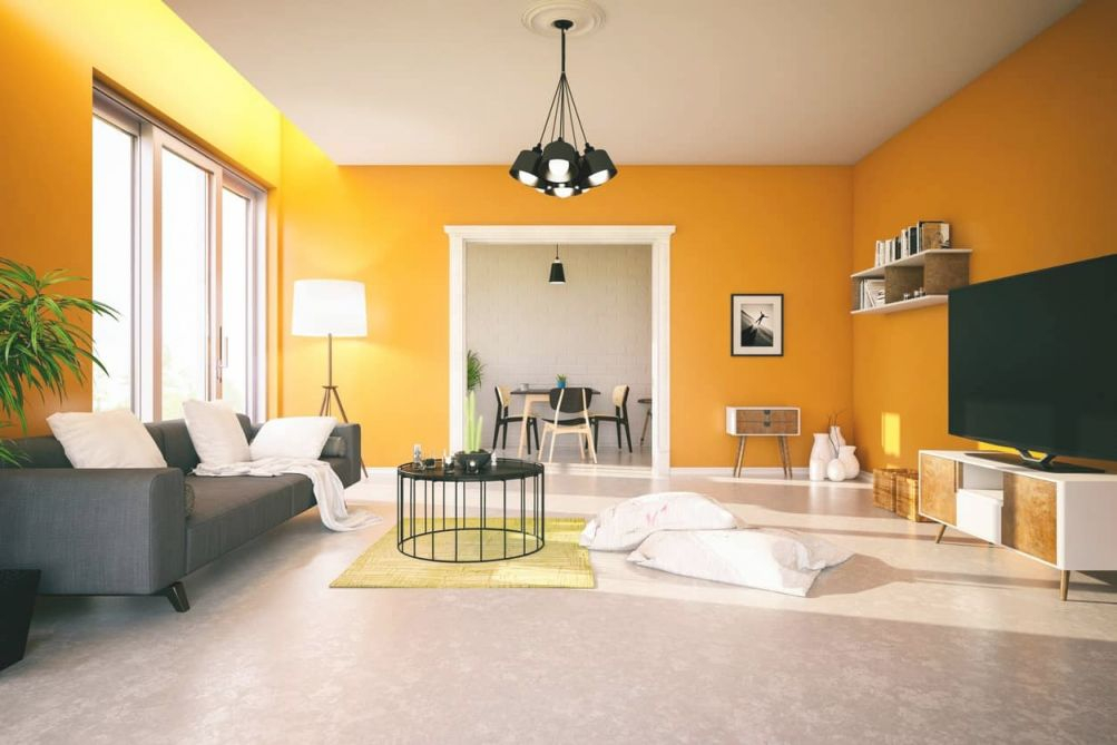 40 Orange Living Room Ideas (Photos) intended for Yellow Walls Living Room Interior Decor