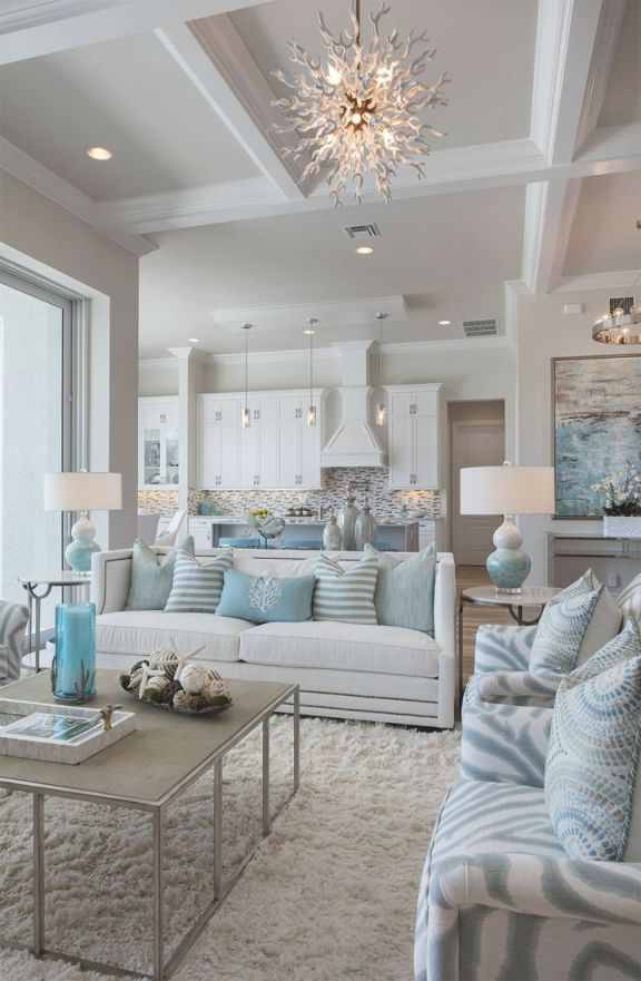 45+ Coastal Style Home Designs | Good Living Room Colors throughout Beach House Living Room Decor