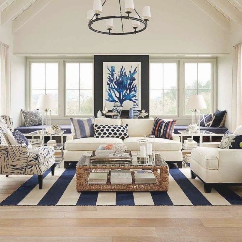 70 Cool And Clean Coastal Living Room Decorating Ideas Throughout Beach House Living Room Decor Awesome Decors