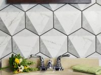 Gray-And-White-Geometric-Hexagonal-Bathroom-Tiles-In-Small-Bathroom-Wall-Decor
