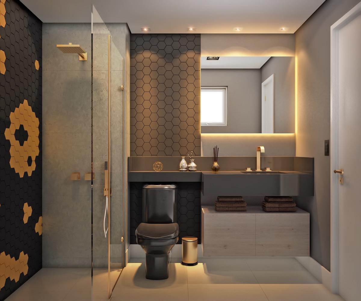 Grey-gold-black-modern-bathroom-design