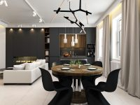 LED-chandelier-black-and-white-dining-area
