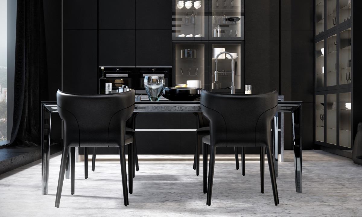 Modern-black-glass-dining-set