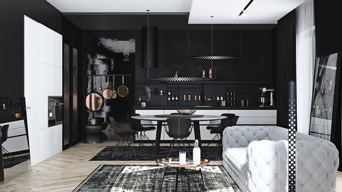 Monochrome-dining-room