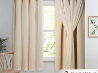 NICETOWN Double Layers Light Blocking Mix & Match Beige Crushed Voile and Blackout Curtains with 4 Tie-Backs for Bedroom Window, Cortinas para Sala (Set of 2, W52 x L63, Biscotti Beige)