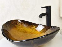 Oval-Shaped-Wavy-Edge-Glass-Sink-With-Artistic-Glass-Gold-Brown
