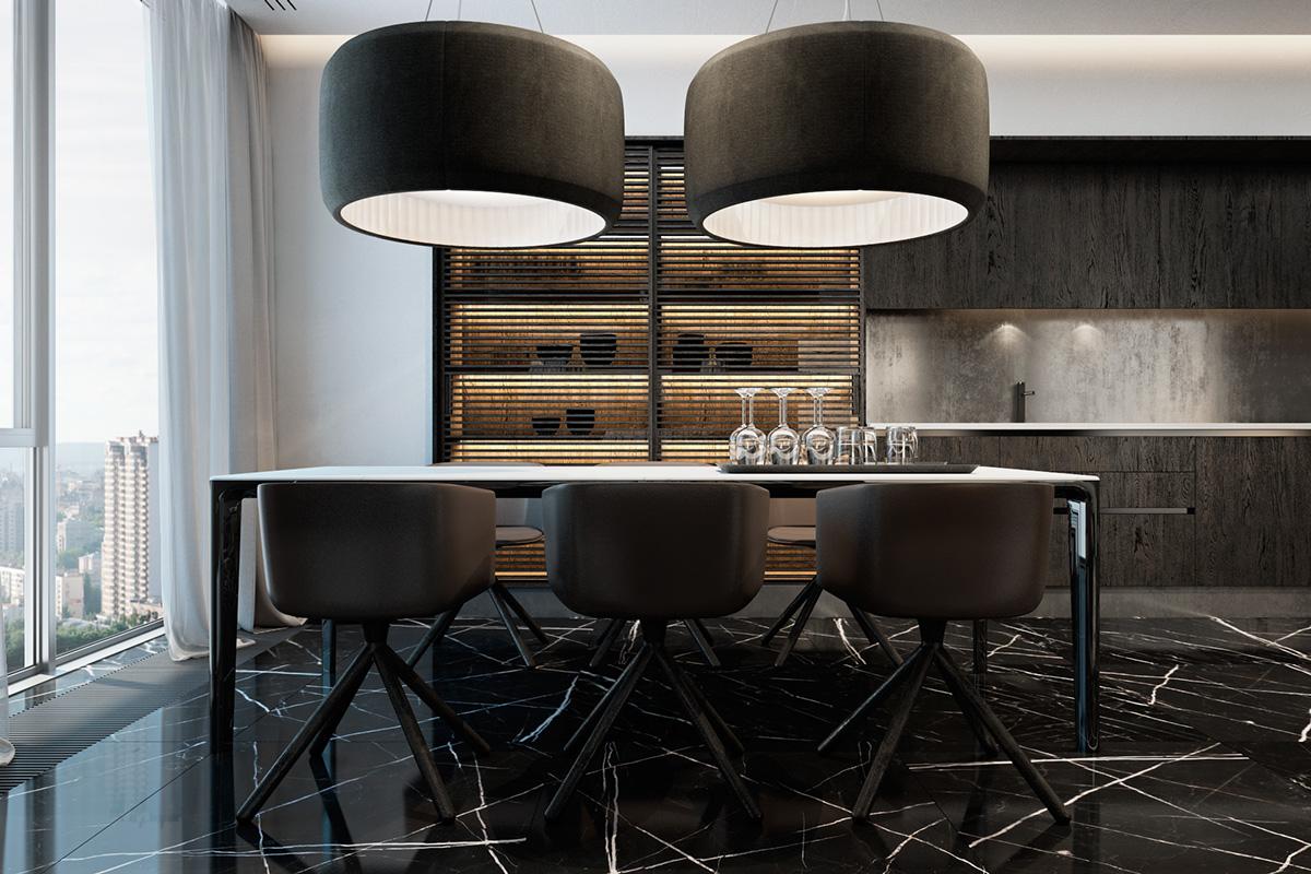 Oversized-black-dining-pendant-lights