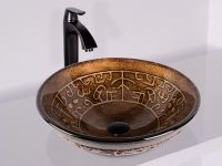Round-Bowl-Sink-Brown-Golden-Greek-Glass-Vessel-Bathroom-Sink