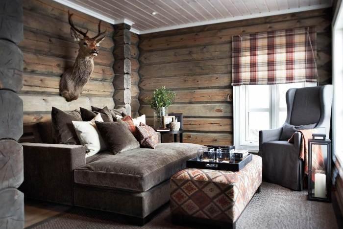 The Overview and Examples of Norwegian Interior Design. Northern forester's house with antlers and exposed logs