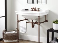 narrow depth bathroom vanity sale Fresh Cierra Console Sink with Brass Stand Bathroom