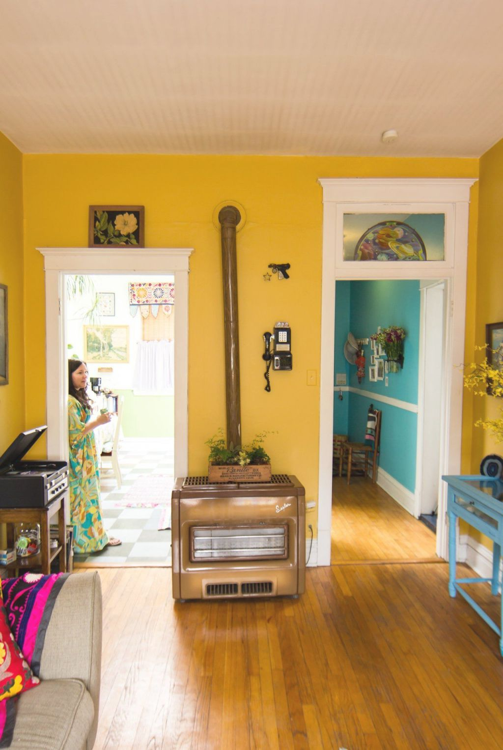 Amy's Vintage Jewel Tone Apartment In 2019 | Yellow Walls inside Unique Yellow Walls Living Room Interior Decor