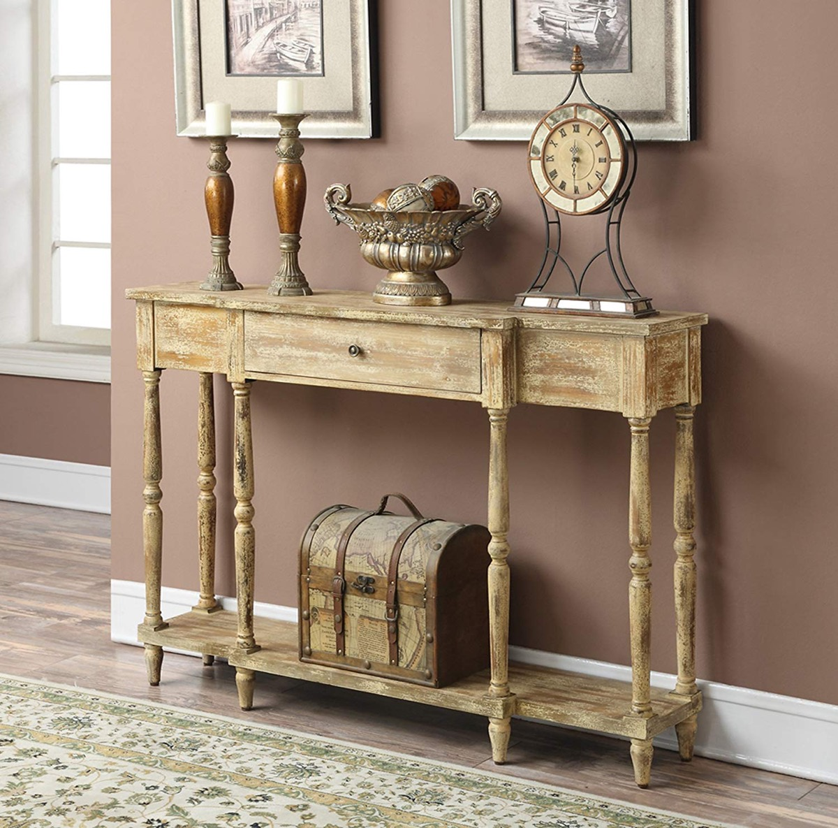 antique-console-table-distressed-wood-with-drawer-for-traditional-interior-design