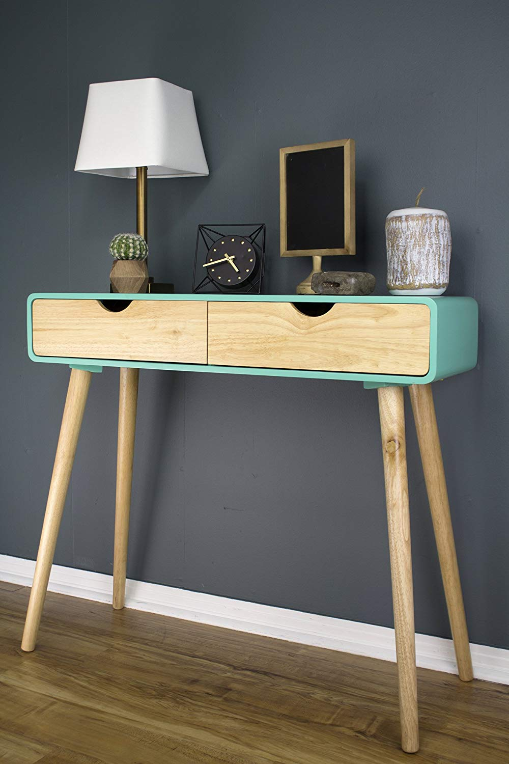 aqua-blue-and-natural-wood-mid-century-modern-console-table-with-drawers