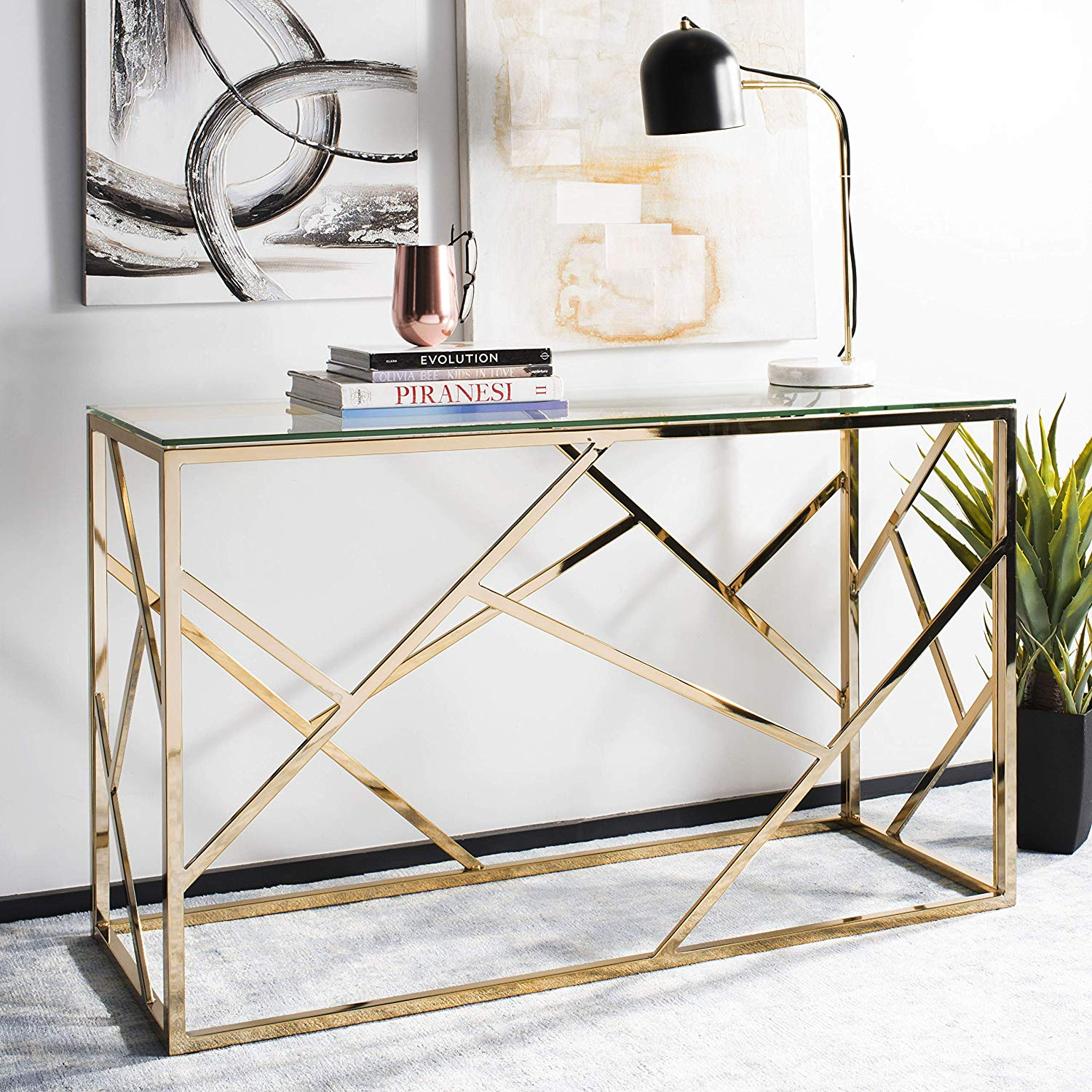 beautiful-brass-console-table-with-crisscross-base-and-glass-top