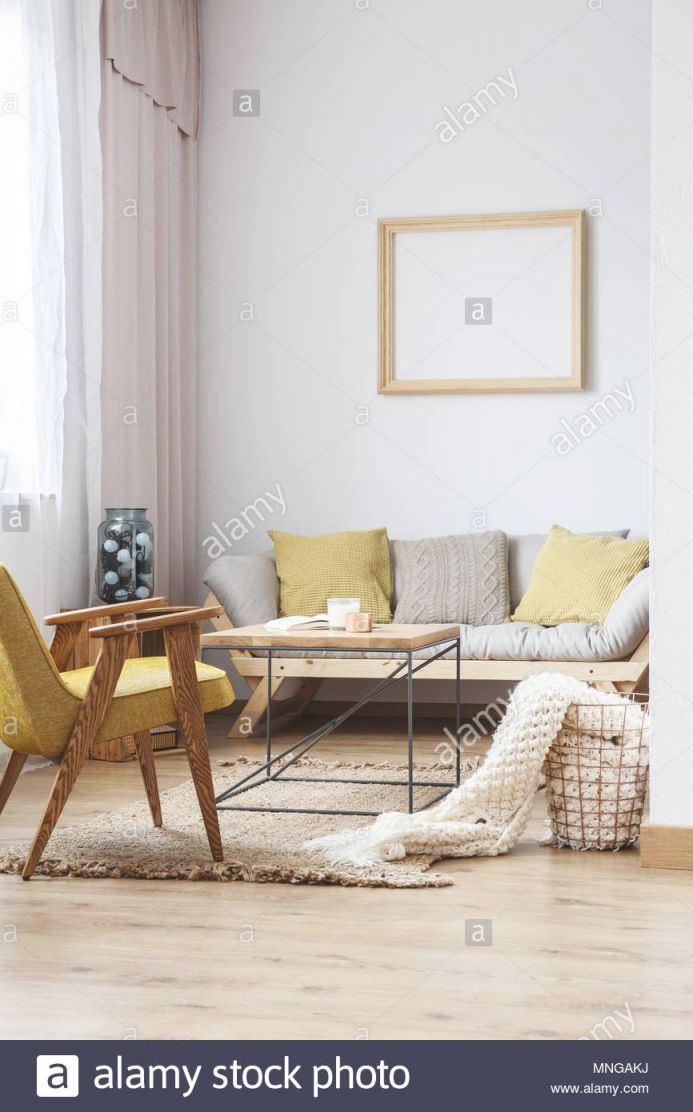 Beige And Yellow Interior Decor Of Modern Bright Living Room in Yellow Walls Living Room Interior Decor