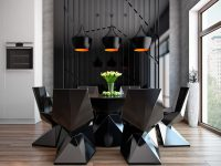 black-geometric-furniture-cool-dining-rooms