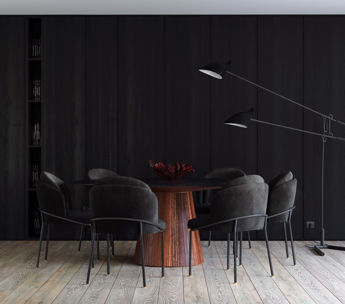 black-round-dining-table-set