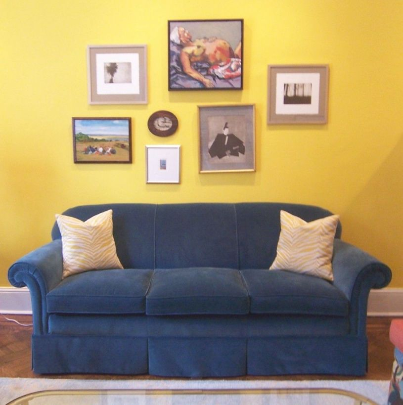 Blue Sofa With Yellow Art Wall In 2019 | Yellow Walls Living pertaining to Yellow Walls Living Room Interior Decor