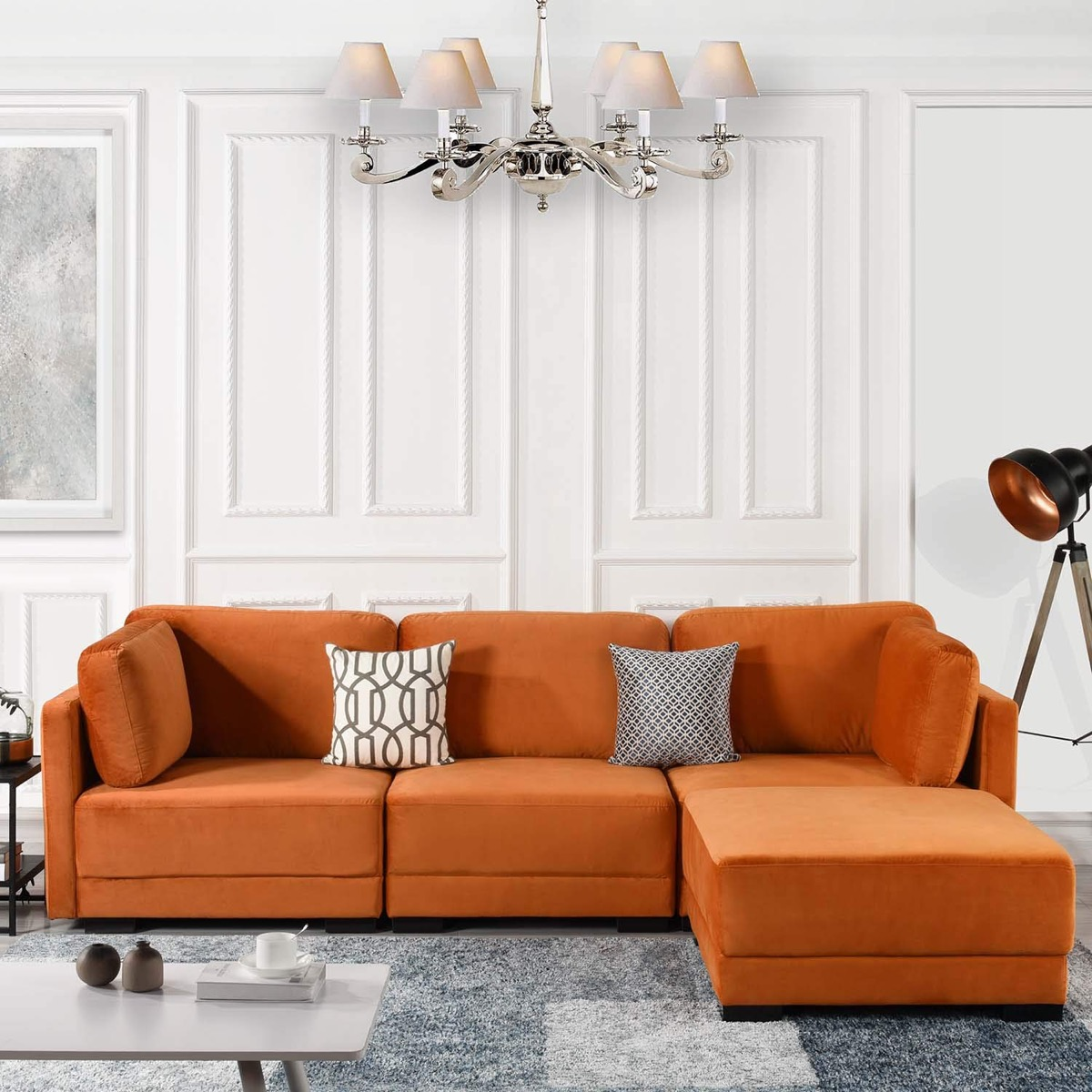 - Bright-orange-sectional-sleeper-sofa-with-chaise - Awesome Decors