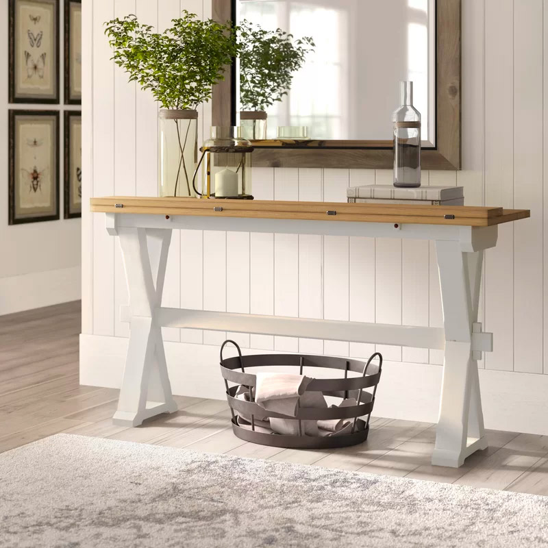 classic-style-drop-leaf-console-table-with-white-trellis-legs-wood-top
