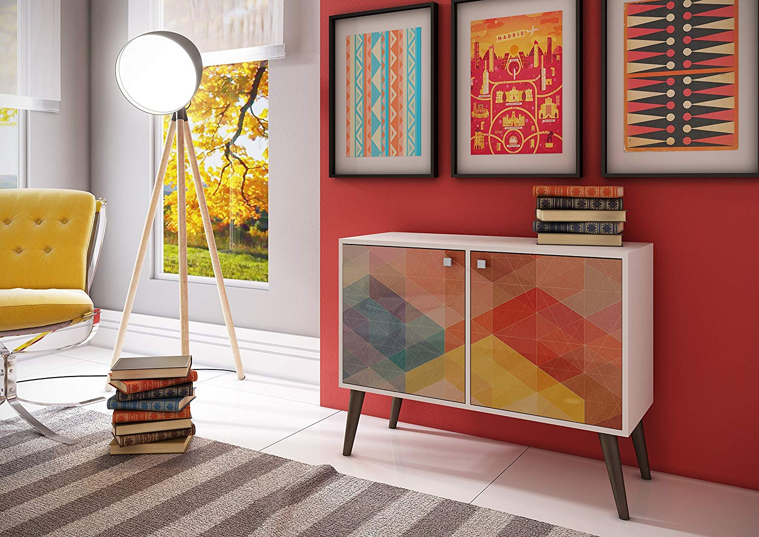 colorful-storage-console-table-with-rainbow-geometric-pattern