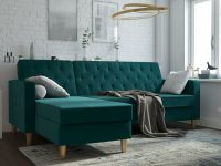 compact-emerald-green-sleeper-sectional-sofa-for-small-spaces