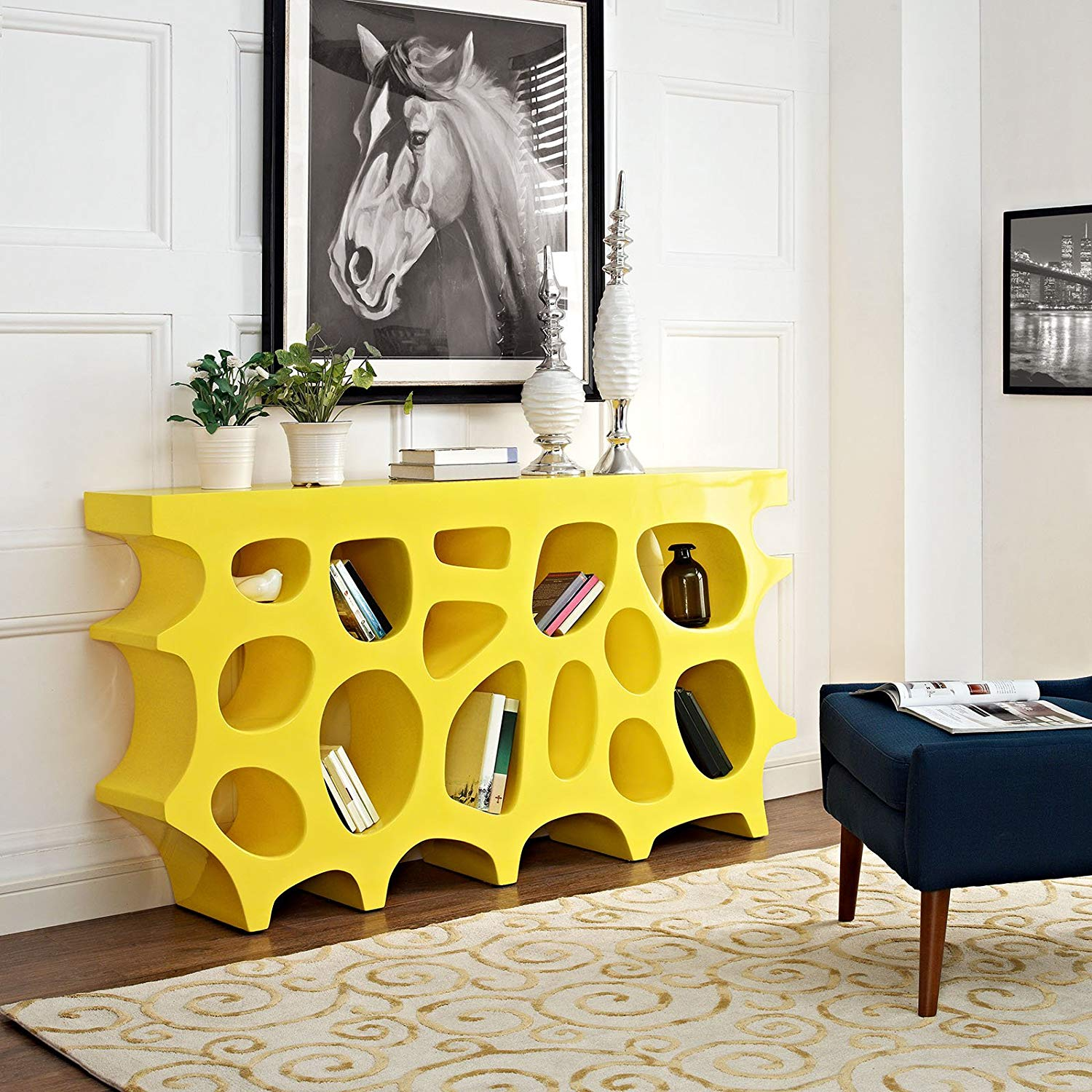 creative-modern-console-table-sculptural-bright-yellow-color-with-cubbies