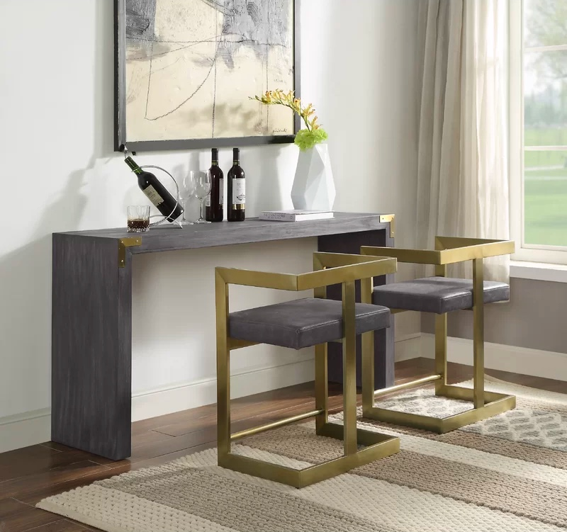 elegant-sophisticated-console-table-with-stools-in-grey-finish-with-brass-metal-accents