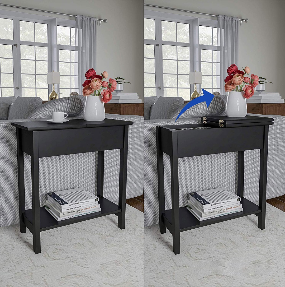 flip-top-console-table-in-matte-black-with-lower-shelf