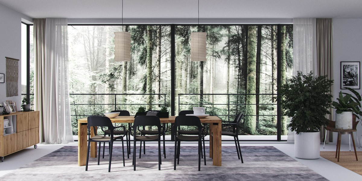forest-view-potted-plants-dining-room