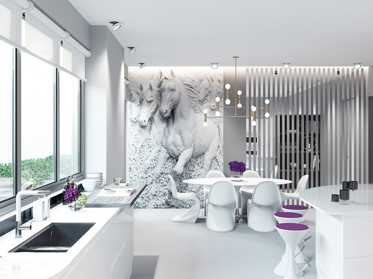 galloping-horse-artwork-purple-dining-room