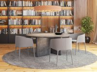 grey-rug-wooden-bookcase-dining-space