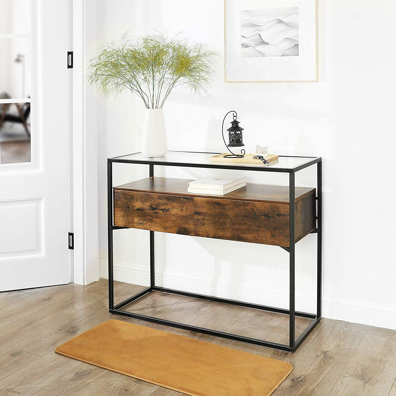 industrial-console-table-with-weathered-wood-drawers-and-tempered-glass-top