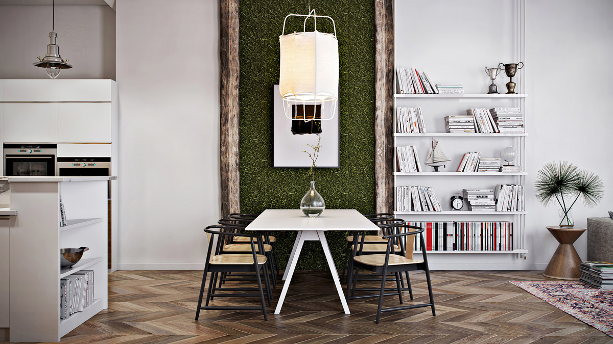 living-wall-paper-lantern-dining-area