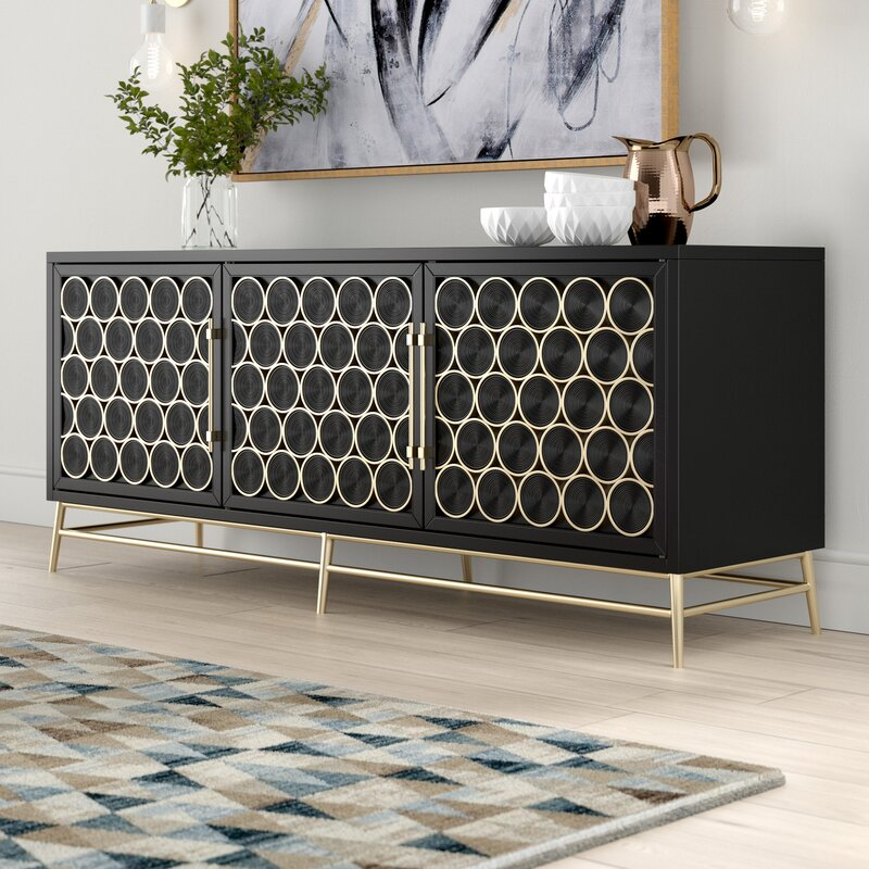 luxurious-black-console-table-with-gold-accents-wine-cabinet-ideas
