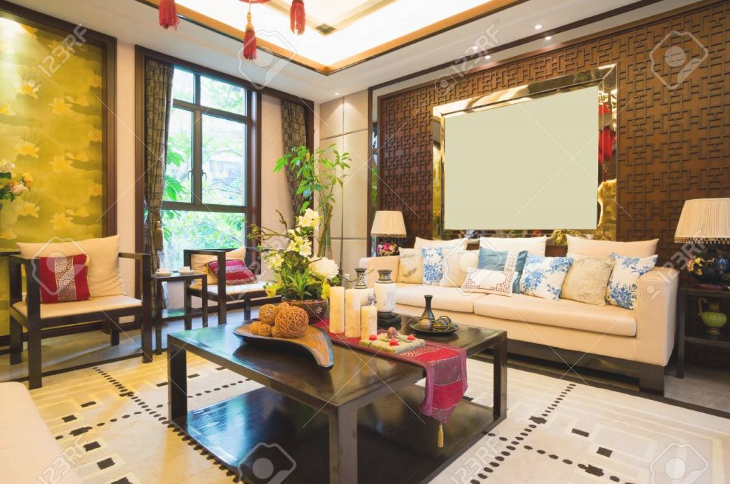 Luxury Living Room With Nice Decoration Of Chinese Style inside Chinese Living Room Decor