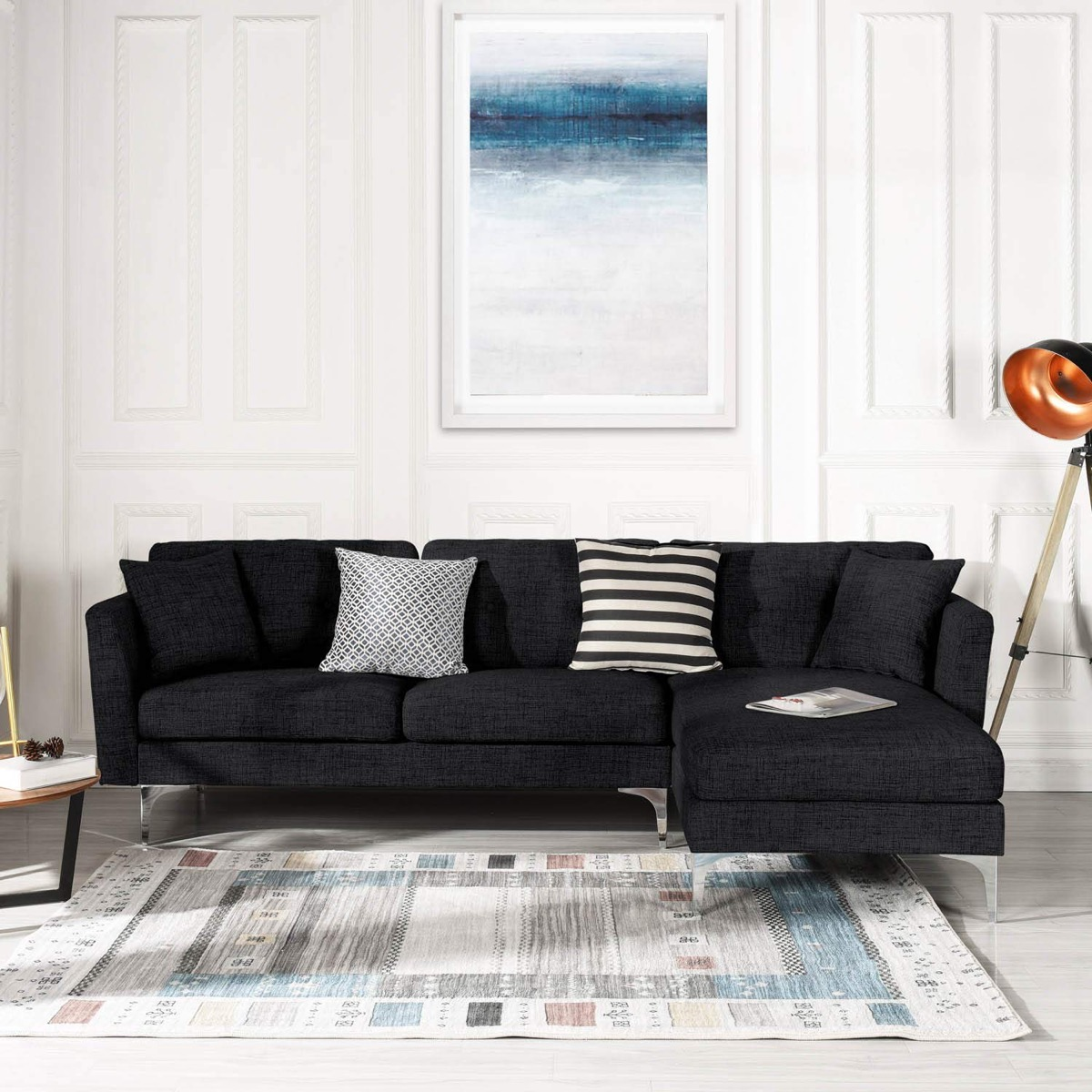 Picture of: Modern Black Sectional Sleeper Sofa Fabric Upholstery Awesome Decors