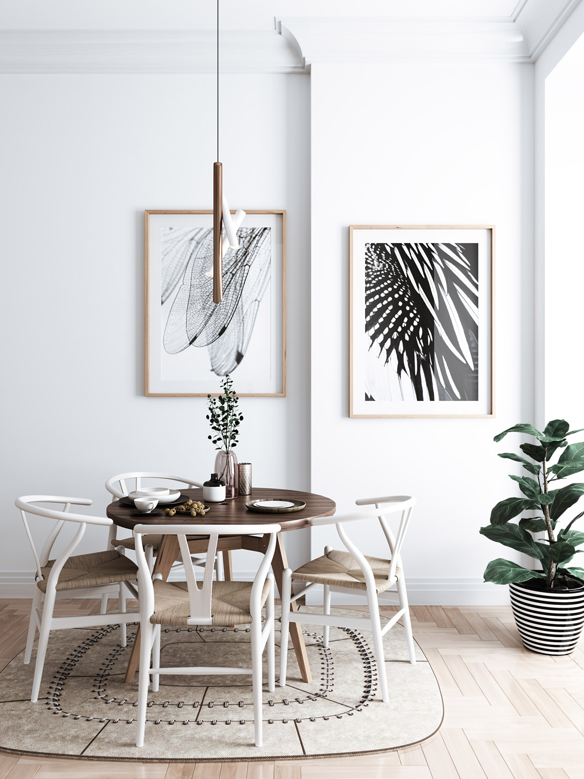 monochrome-print-white-and-wooden-furniture-dining-room