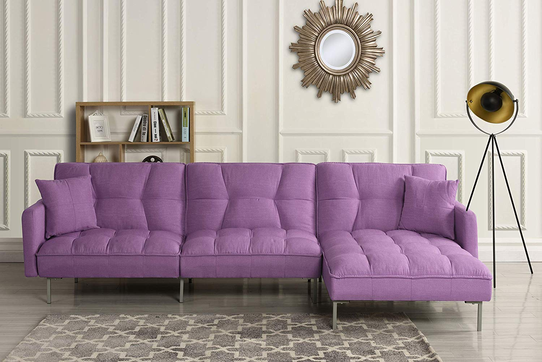 Purple Fabric Sectional Sleeper Sofa