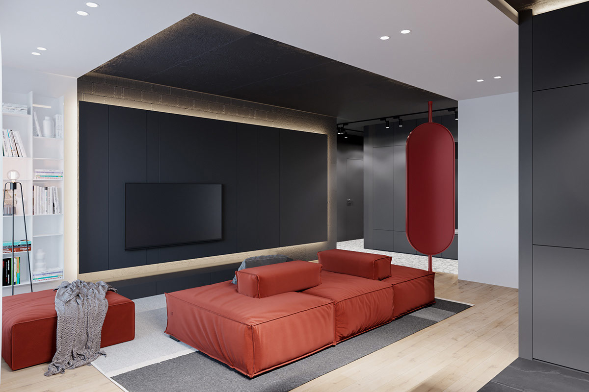 Modern Red And Grey Interiors